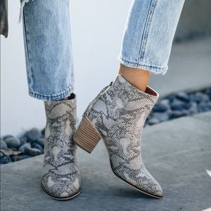 Wrong Or Right Heeled Python Bootie